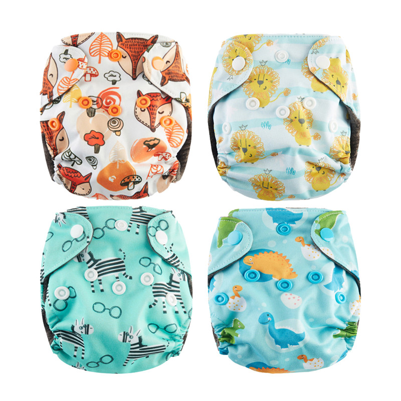 4Pcs Newborn Pocket Cloth Diaper NB Baby Diaper Charcoal Bamboo Lining Waterproof Minky PUL Outer Fit 2-4kg Babies