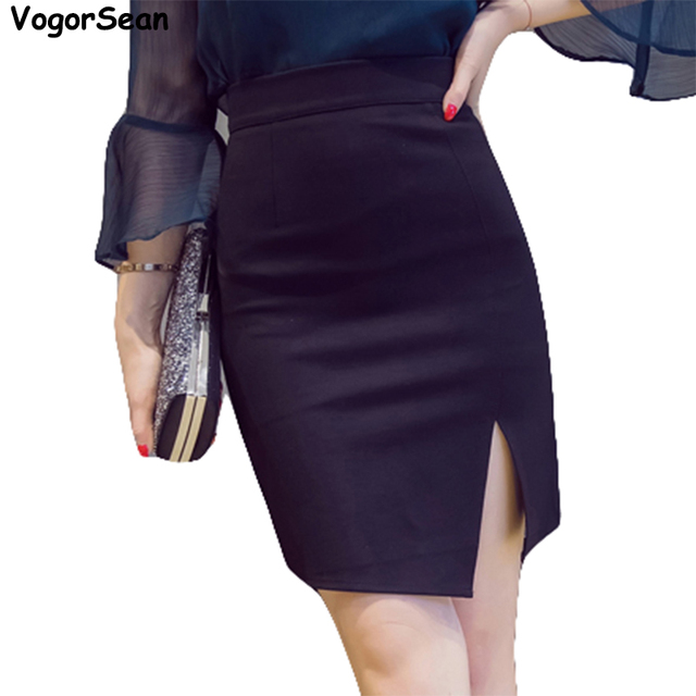 27fab33647f82 VogorSean Plus Size 5XL Black Pencil Skirt Autumn 2018 Bodycon High Waist  Skirts Women Faldas Cortas Saia Tight Sexy Mini Skirt