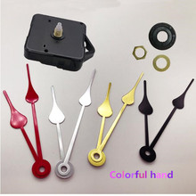10pcs DIY Quartz Wall Clock Movement Kit Spindle Mechanism shaft 6mm Repair Replacement Black Watch Colorful Hand with hook