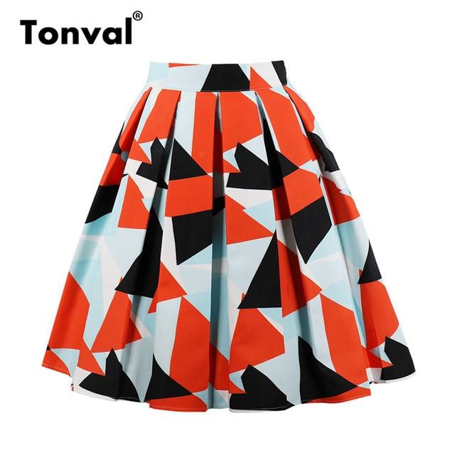 7ccdfb01e0e Tonval Vintage Women Geometric Designs Pleated Skirts Womens Orange Print  Plus Size Midi Skirt High Waist