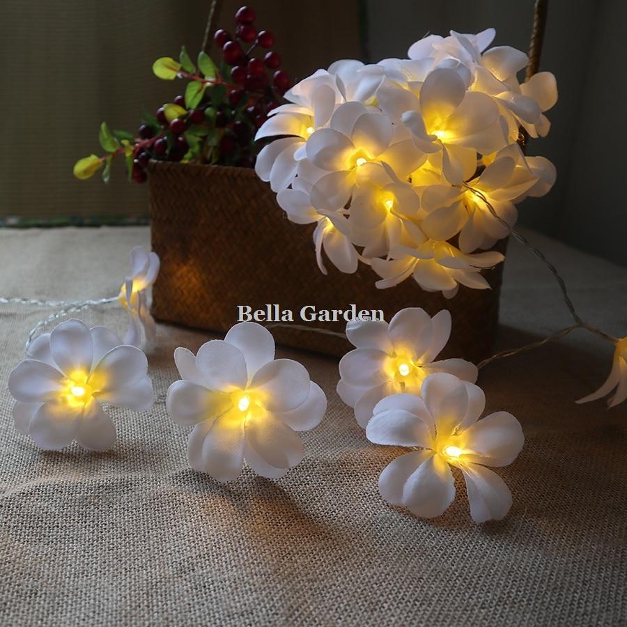 220 v 5 m 28led frangipani LED corda luzes bateria luz de fadas - Iluminação festiva - Foto 4