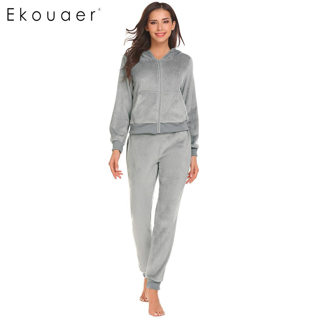ff1414fcb Ekouaer Quente Sets Mulheres Pijama Sleepwear Inverno Fleece Com Capuz Tops  de Manga Longa de Cintura Elástica Roupa Suit Pijamas Femininos em  Conjuntos de ...