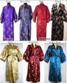 Free Shipping New Chinese Men's Satin Polyester Robe Kimono Gown Dragon Phenix S M L XL XXL XXXL MR-009