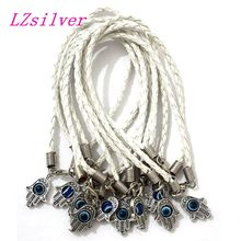 50pcs Hamsa Hand White String Evil Eye Lucky Charm Bracelets for Luck & Success