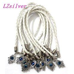 50pcs 1 Lots Hamsa Hand White String Eye Lucky Charm Bracelets for