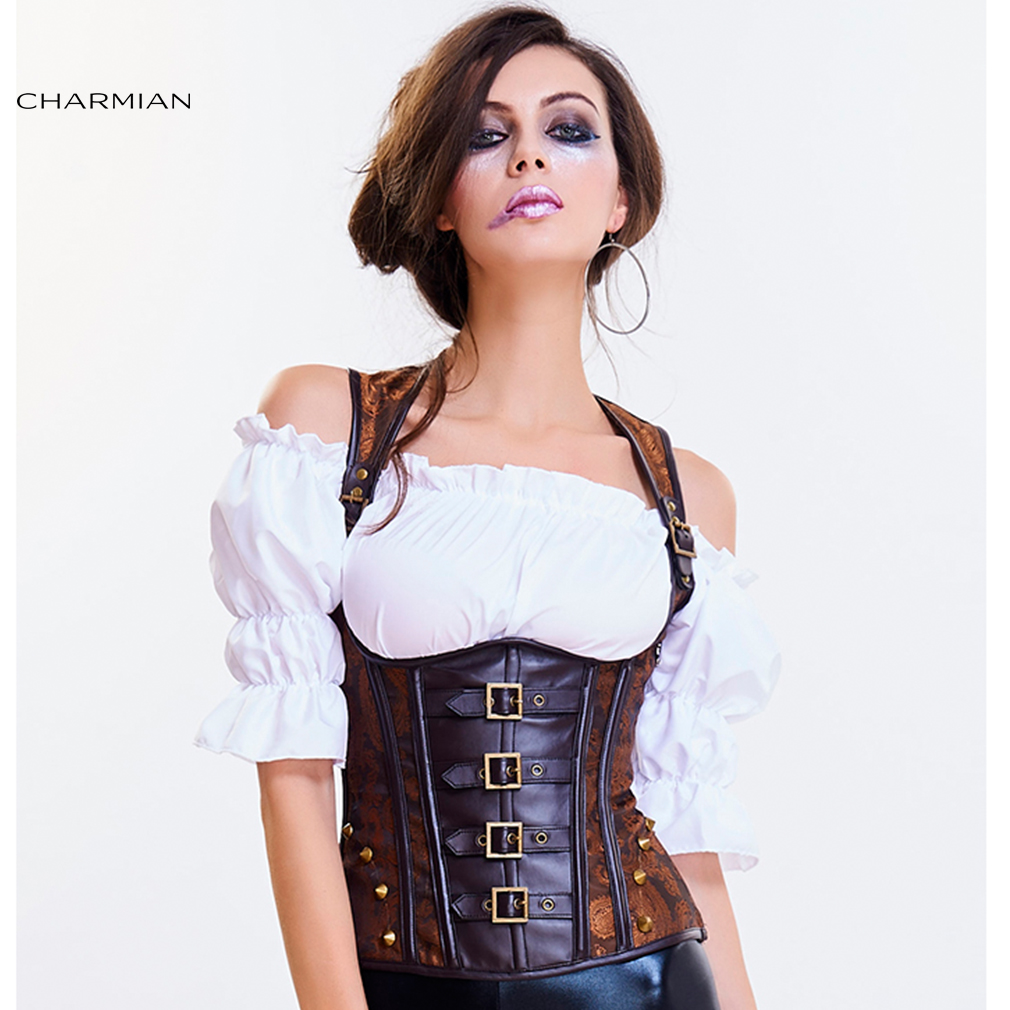 Charmian Women's Steampunk Goth Underbust Corset Vest Sexy Brown Punk Rivets Retro Corsets and Bustiers Waist Trainer Shaper