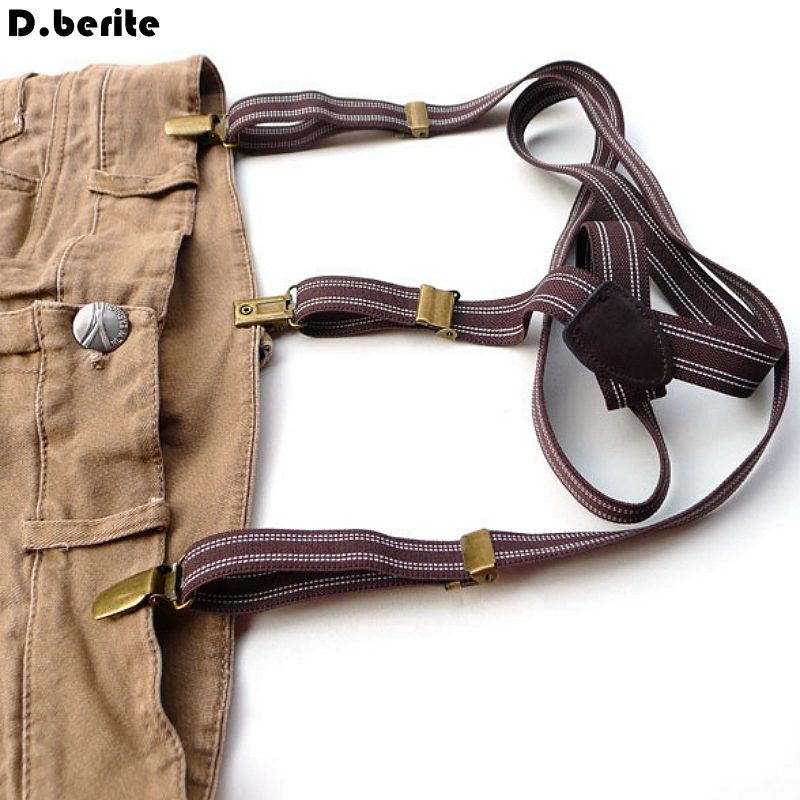 Mens Coffee Striped Braces Casual Unisex Adjustable Suspenders Clip-on Braces Adult Belt Strap For Wedding Party BDXJ209