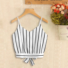 380e290275e Self Tie Back For Women`s V Neck Striped Camisole Female Camisas Mujer Tank  Tops Crop Tops Camis 2018 Summer Style