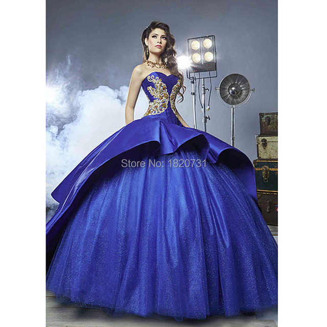 f7166b75299 Elegant Gold And Royal Blue Quinceanera Dresses 2019 Sweetheart Golden  Embroidery Long Train Ball Gown For 16 Years Dresses