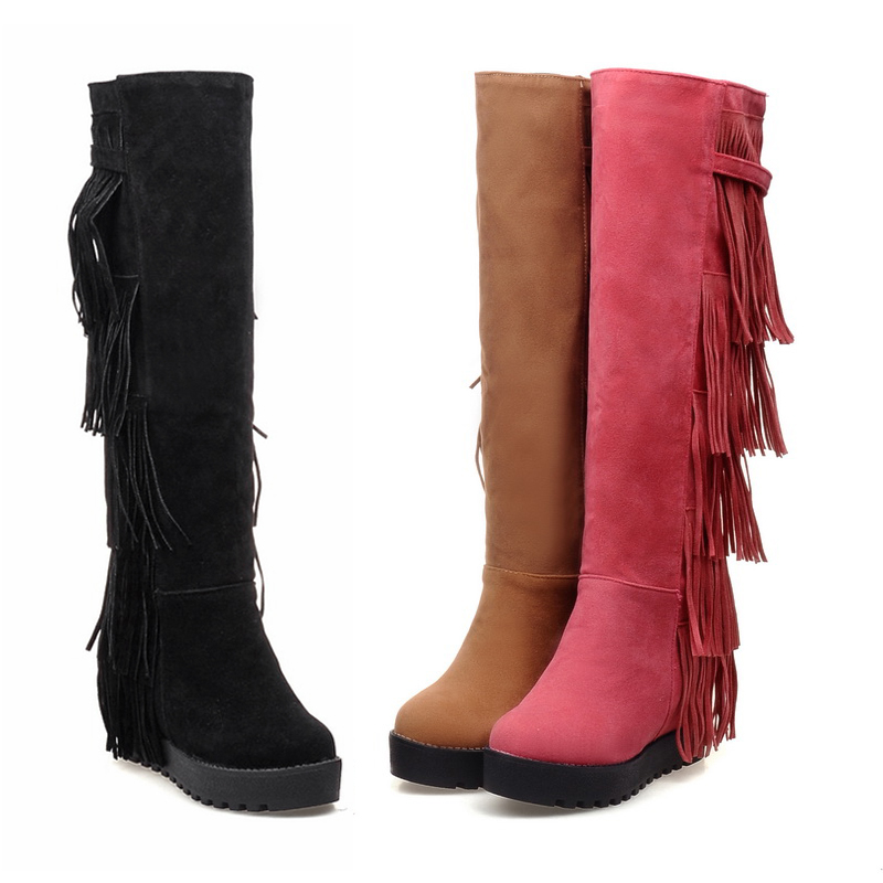 ФОТО Dower Me 2017 New european and american style riding round toe women boots knee high boots black red yellow color S-18