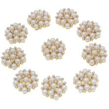 20mm 4/5 New 5-Holes Shape Button Rhinestone Pearl Metal Zinc Alloy Flatback Sewing Buttons for Women Jeans Apparel 10pcs