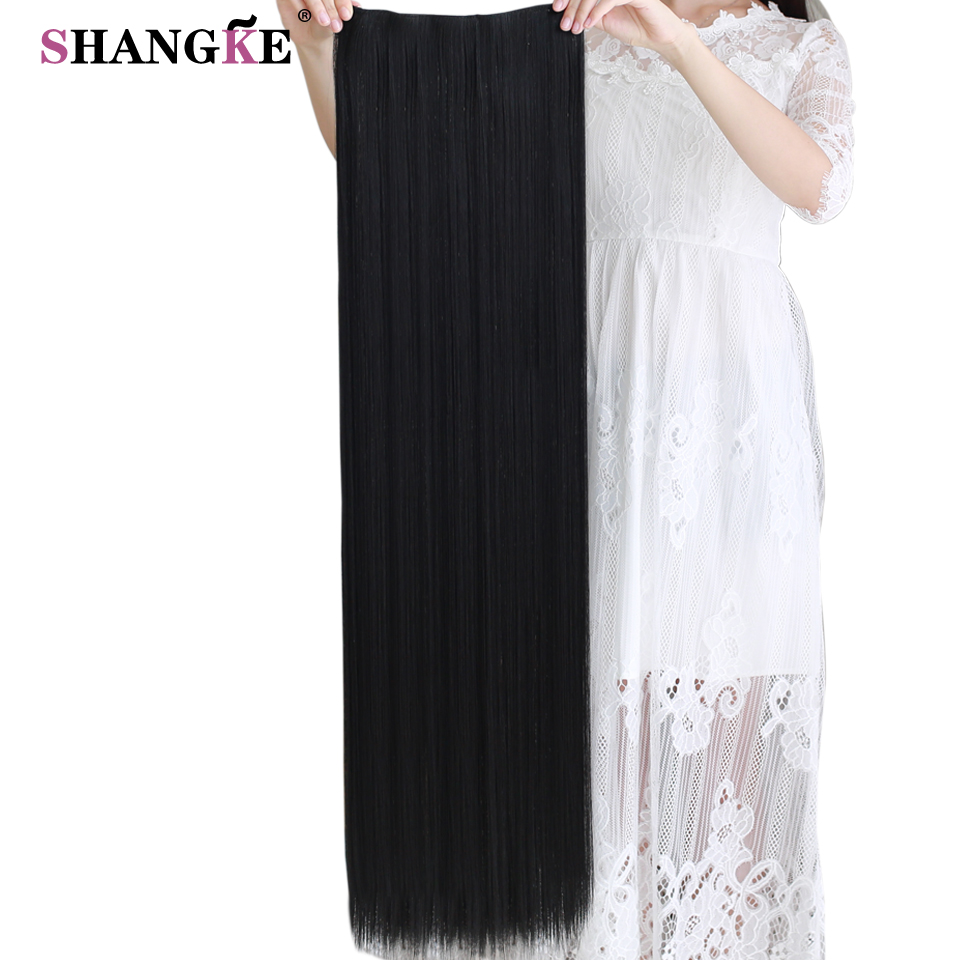 SHANGKE 80 CM Long Straight Women Clip In Hair Extensions Heat Resistant Synthetic Hair Piece Black Dark Brown Hairstyle