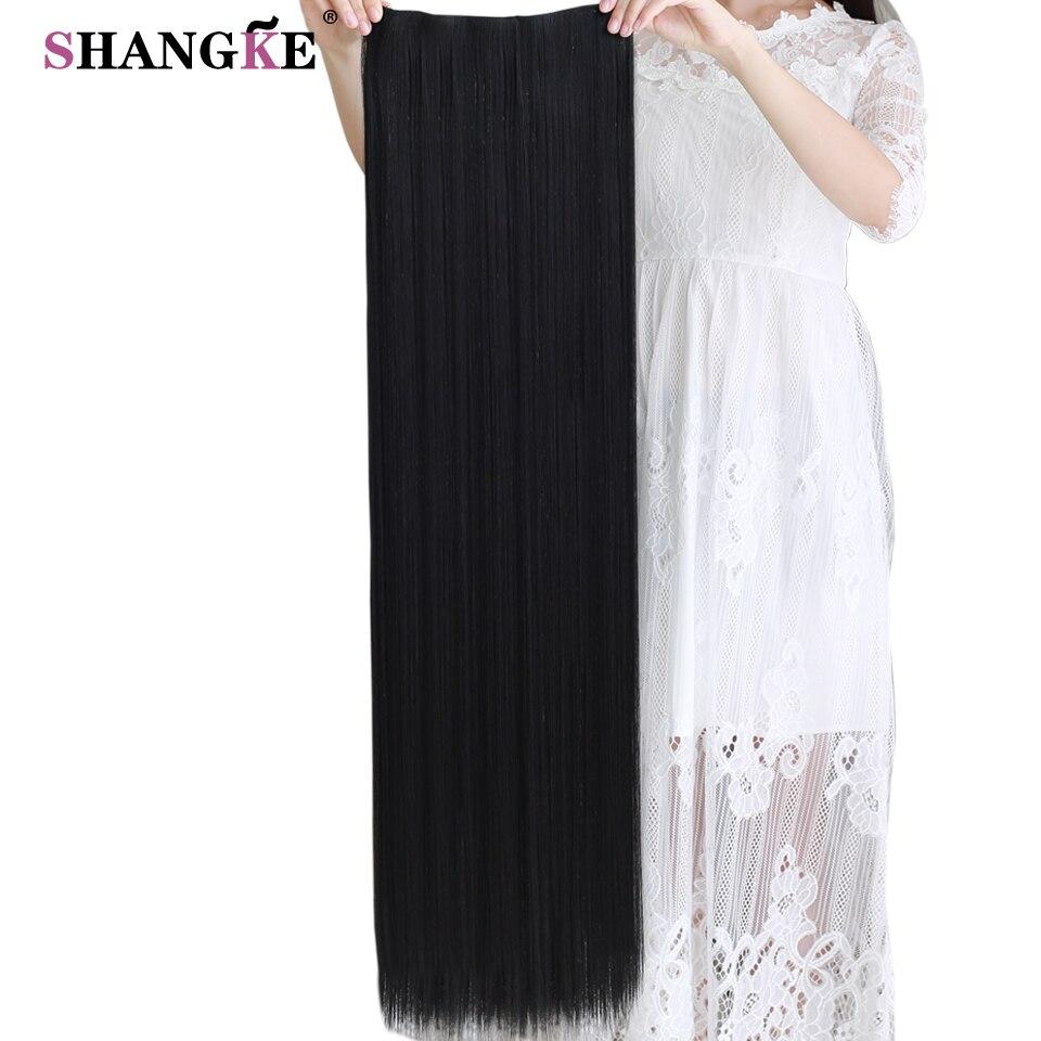 Shangke 80 cm de comprimento em linha reta grampo em extensões de cabelo sintético resistente ao calor parte do cabelo preto marrom escuro penteado