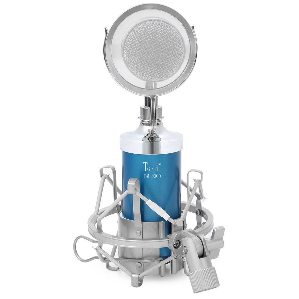 TGETH BM-8000 Sound Studio Recording Condenser Wired Microphone With 3.5mm Plug Stand Holder Pop Filter For KTV Karaoke heat live broadcast sound card professional bm 700 condenser mic with webcam package karaoke microphone
