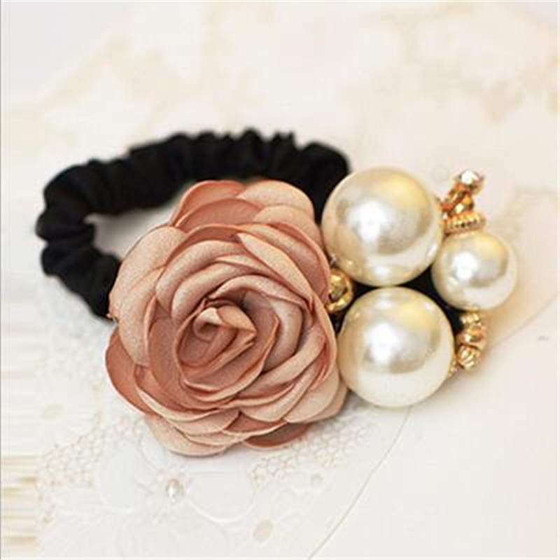 1pc Hair Accessories Women Fashion Style Big Rose Flower Pearl Rhinestone Hair Bands Elastic Hair Rope Ring 5 Colors for Girls Fashion Accessories