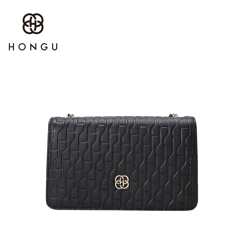 Hongu Luxury Genuine Leather Women Gold Plated Chain Cover flap bags handbags Famous Brand Lady messenger OL bags designer louis twenty four women brand flap bags natural genuine leather handbags with chain solid color cover small bags young cross body bags