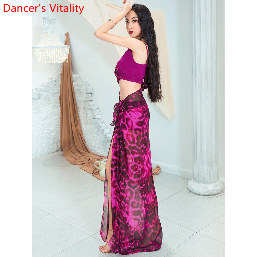 Image 4 - Fashion Belly Dance New Yarn Chiffon Long Hip Scarf Practice Clothes Women Oriental Indian Dance 2 Colors Performance Costume-in Belly Dancing from Novelty & Special Use