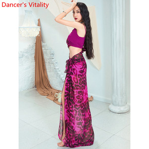 Image 4 - Fashion Belly Dance New Yarn Chiffon Long Hip Scarf Practice Clothes Women Oriental Indian Dance 2 Colors Performance Costume