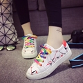 Women casual shoes leather rainbow white shoes flat loafer thick sole girls students shoes preppy style multicolors waterproof