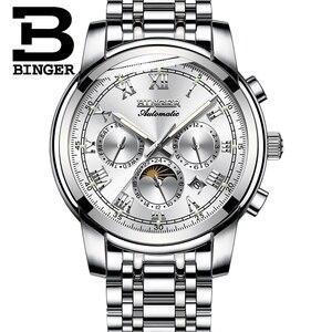 Image 3 - ספיר שעון עמיד למים Relogio Masculino שוויץ אוטומטי מכאני שעון גברים Binger יוקרה מותג Mens שעונים B1178 4