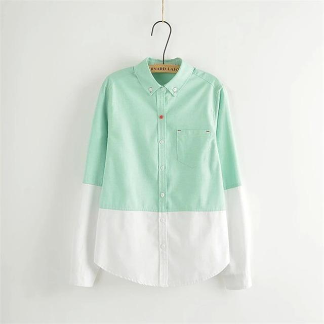 Office Shirts Vrouwen 2016 Lente Bodem Gradiënt Blauw Groen Blouses Lady Lange Mouwen Katoen Elegante Tops Shirts met Zakken