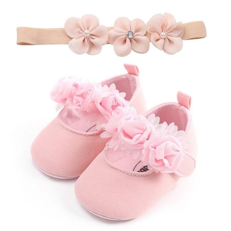 Melario With Hair Band Lovely Floral Baby Newborn Toddler Girl Crib Shoes Pram Soft Sole Prewalker Anti-slip Baby Shoes 0-18M