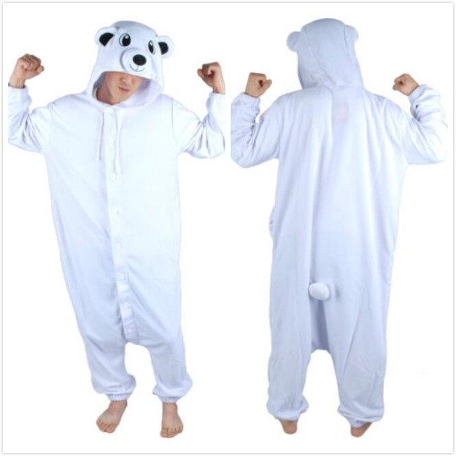 Polar Bear комбинезон унисекс животного Косплэй пижамы Взрослый Костюм для  Для женщин Для мужчин Хэллоуин карнавальные костюмы партии пижамы плюс  Размеры ... ccd1677355efb