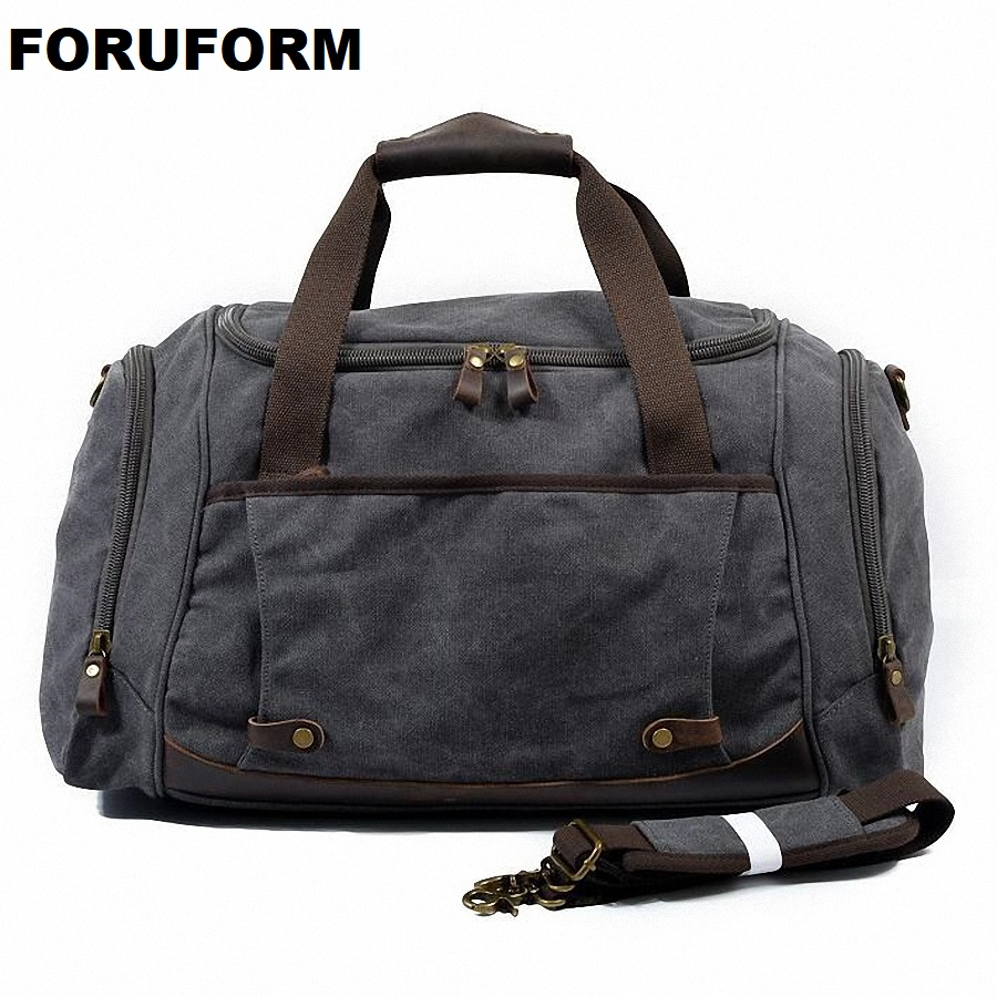 Vintage Canvas Men Travel Bags Multifunctional Luggage Travel Duffle Bags Short Trip Travel Handbag Tote Weekend Bag LI-1963