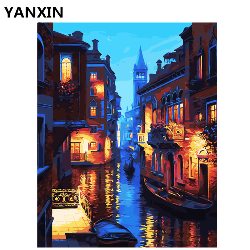 YANXIN DIY Frame Painting By Numbers Oil Paint Wall s
