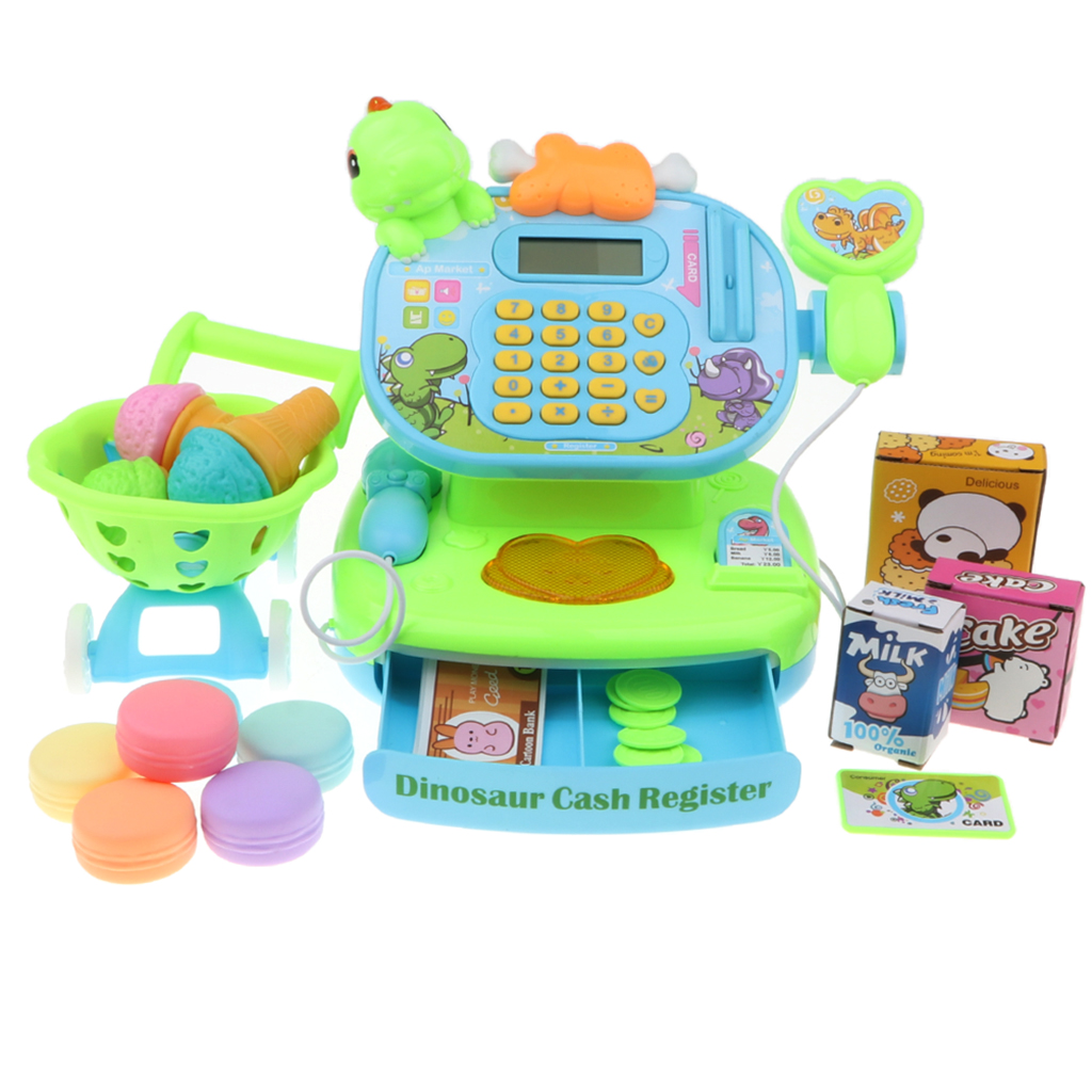 Dinosaur Electronic Cash Register With Scanner Toy - Pretend Play Supermarket Checkout Game w/ Shopping Cart & Play Food Grocery
