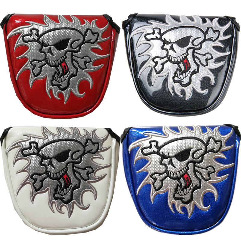 4 colour golf Putter Cover Headcover Magnetic Closure For golf Mallet Putter Embroidery Skull red black blue white