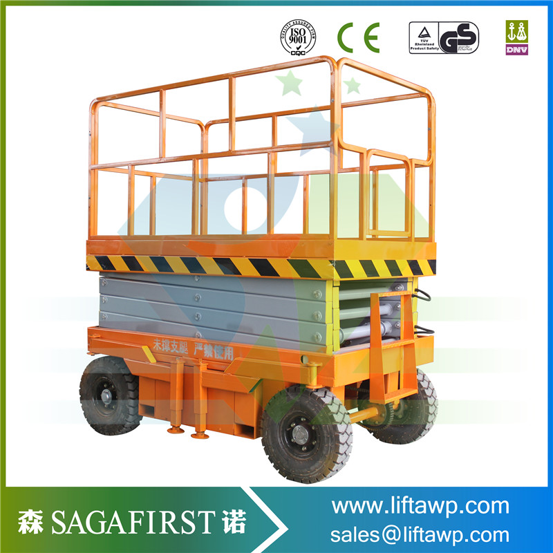 Hydraulic Mobile Aerial Platform 10m 500 To 2000kg Semi Electric Scissor Lift Table