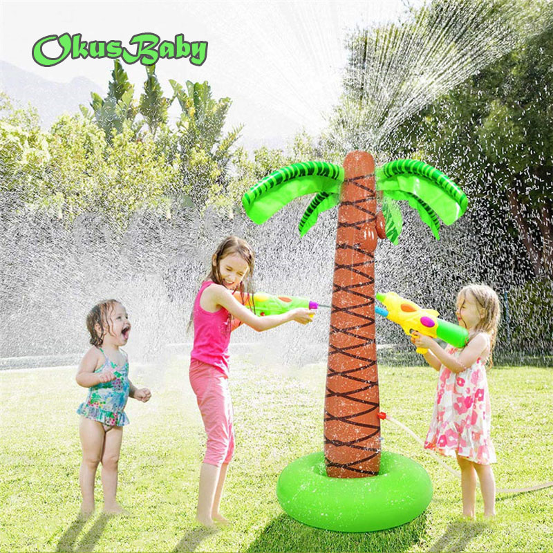 2019 Summer Water Spray Baby Bath Toy Inflatable Sprinkle Coconut Tree Children Garden Lawn Play Water Park Outdoor Beach Ball