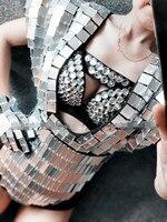 Женский бар костюм для ночного клуба серебро золото объектив боди с кристаллами Бюстгальтер Вечерние DJ Производительность Певица сценичес