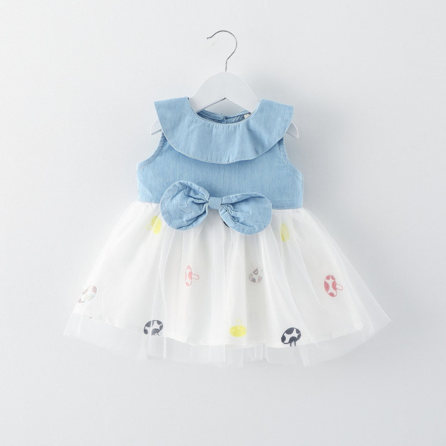 a1b572fc0 mushroom print infant girl denim dress 2016 summer new baby dresses lace  splice newborn clothes for