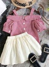 Children Toddler Girls Fashion Princess Off-the-shoulder Short-sleeved Plaid T-shirt Short Ruffle Skirt 2pcs Cotton Suit 3-8Y