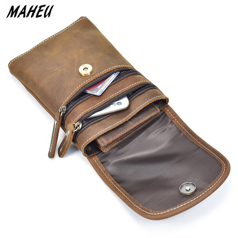 967a16894c24d MAHEU Leather Men's Wallet Mobile Phone Pounch Genuine Leather Mini Fanny  Pack Men Male Small Waist