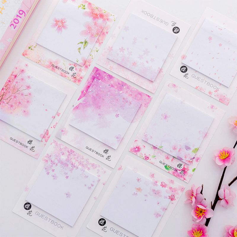 Cute Kawaii Cherry Blossoms Memo Pad Sticky Notes Stationery Sticker Posted It Planner Stickers Notepads Office School Supplies
