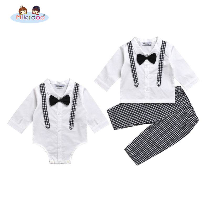 Mikrdoo Baby boy casual suit bow shirt rompers fake plaid suspender pants turn down collar black white clothes set Age 0-2 Years baby boy clothes set 2018 spring new gentleman plaid clothing suit for newborn baby bow tie shirt suspender trousers 5 years