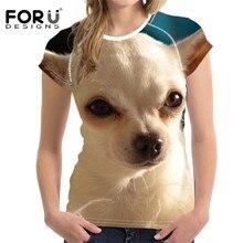 FORUDESIGNS Linda Chihuahua diseño verano T camisa chicas Tops de manga corta Camiseta Casual transpirable Fitness camisas