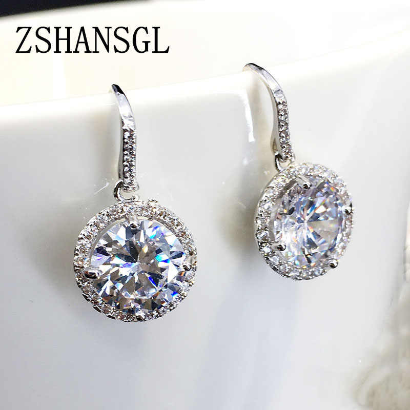 Fashion 925 Sterling Silver Dazzling CZ Crystal Circle Round Stud Earrings for Women Elegance Silver Jewelry Mother's Day Gift