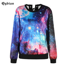 2017 Autumn Fall Back Drawstring Cross Straps O-Neck Loose Sweatshirt Womne Top Fashion Clothes Space Galaxy print Sweatshirts(China)