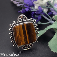 Unique Christmas Gift 21x22mm Natural Tiger S Eye 925 Sterling Silver Ring Size 8 5 Handmade