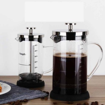 Stainless Steel French Press, Boron silicate French Press Coffee Pot with scale, Coffee Maker, Tea Pot 350ML 600ML 1