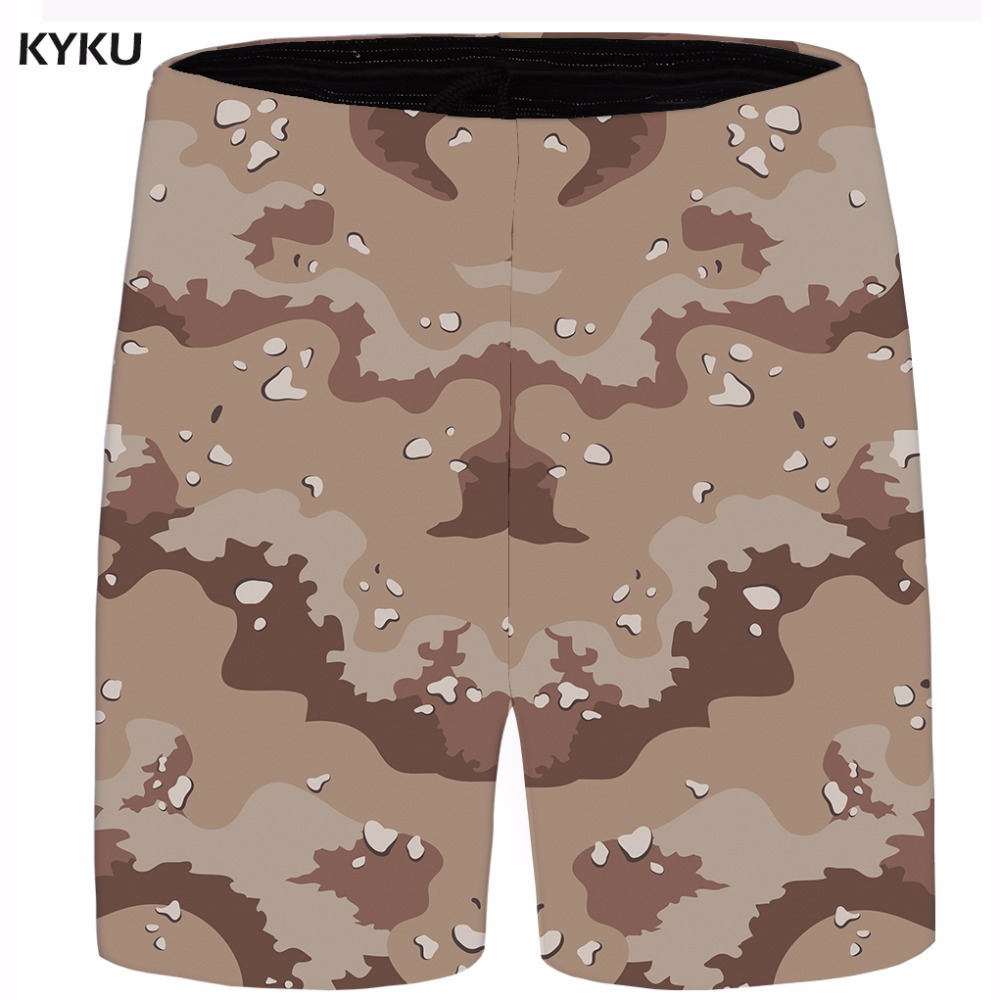 KYKU Ink Short Men Gray Shorts Camo Beach Casual Shorts Cargo Street Hip Hop Mens Short 2018 Summer Fashion Bottoms Plus Size