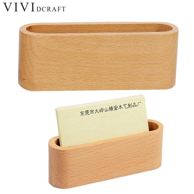 Vividcraft Luxury Wooden Business Card Holders Note Holder Display Device Card Stand Holder Office Desk Accessories Organizer