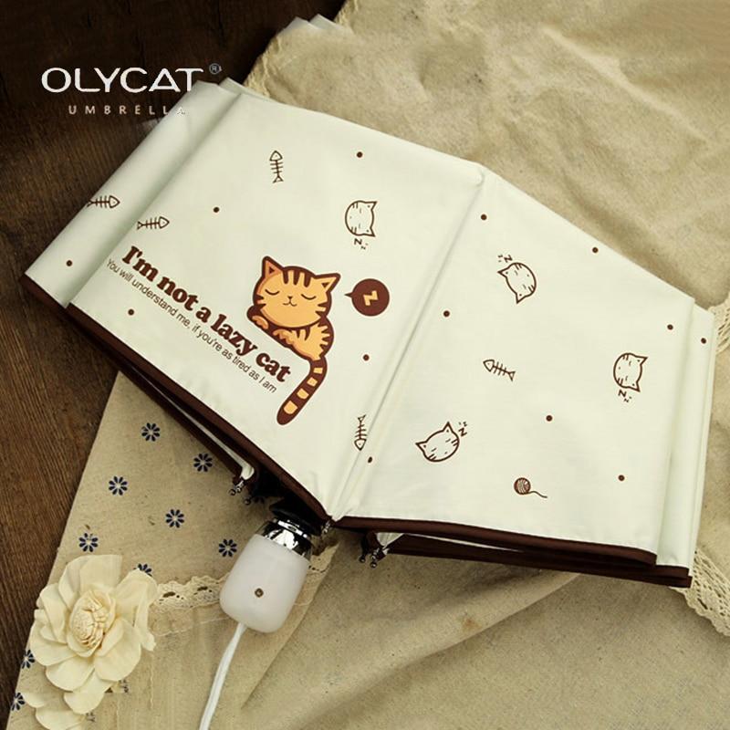 OLYCAT автоматический зонт дождь Для женщин прекрасный кот складные зонтики ветрозащитный черное покрытие Anti UV зонтик Для женщин зонтик девуш... ...