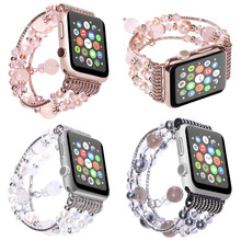 Women Agate Stretch Bracelet for Apple Watch Band for IWatch Seies 1/2/3/4 40mm 44mm 42mm 38mm Wrist Strap Watch Band Belt
