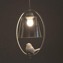 Colgantes de Luz moderna Lámpara de Comedor Cocina Loft Pantalla De Cristal Resina Pájaro Blanco Hierro Hogar Luminaria E27 110-220 V