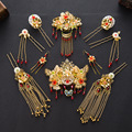 Headdress Coronet Frontlet Hairpin Combs with Tassel Chinese traditional bride sets Chinese Style Wedding Headpiece